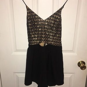 Black & Gold Romper with Keyhole in Front